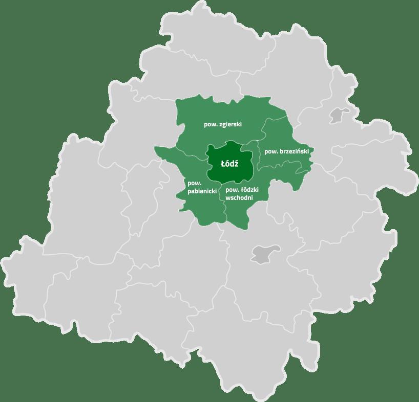 Mapa zasięgu działania firmy Sawo Gruz